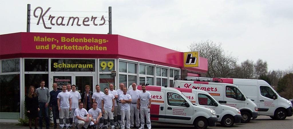 Das Team von Kramers Maler-, Bodenbelags- und Parkettarbeiten GmbH auf einen Blick.